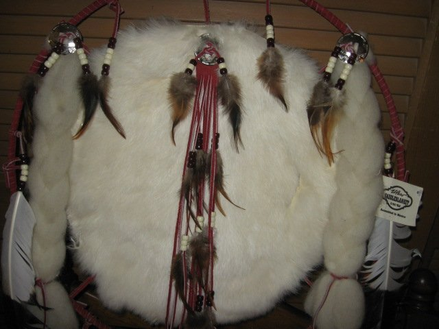 Image 1 of Indian Mandella dream catcher feather ceremonial hoop 19 inch diameter