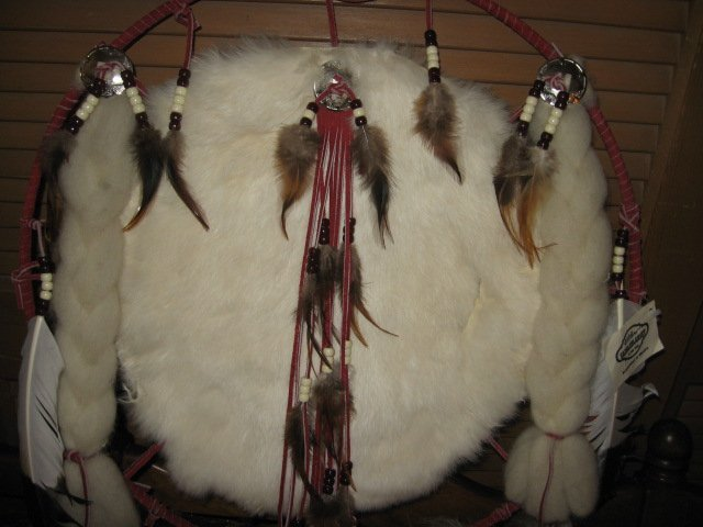 Image 4 of Indian Mandella dream catcher feather ceremonial hoop 19 inch diameter