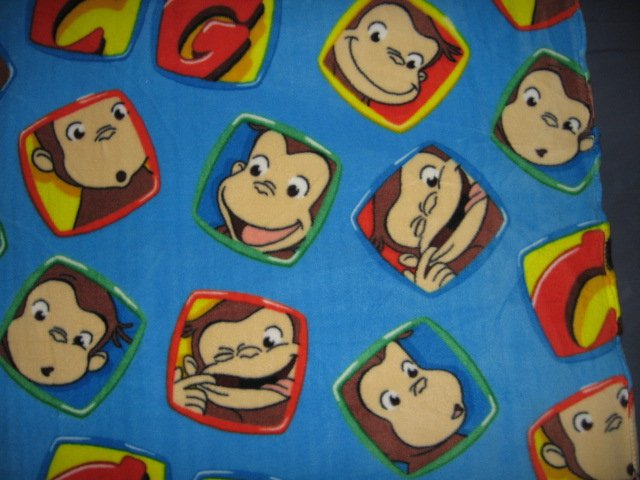 Image 1 of Curious George balloons Licensed handmade fleece toddler blanket 29