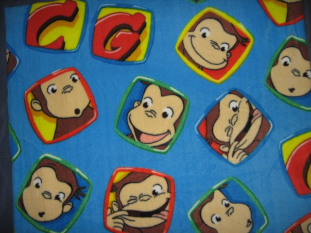 Image 2 of Curious George balloons Licensed handmade fleece toddler blanket 29