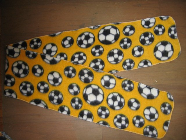 Soccer balls  yellow  Fleece scarf or Party Tablerunner 56 in X 8 in wide