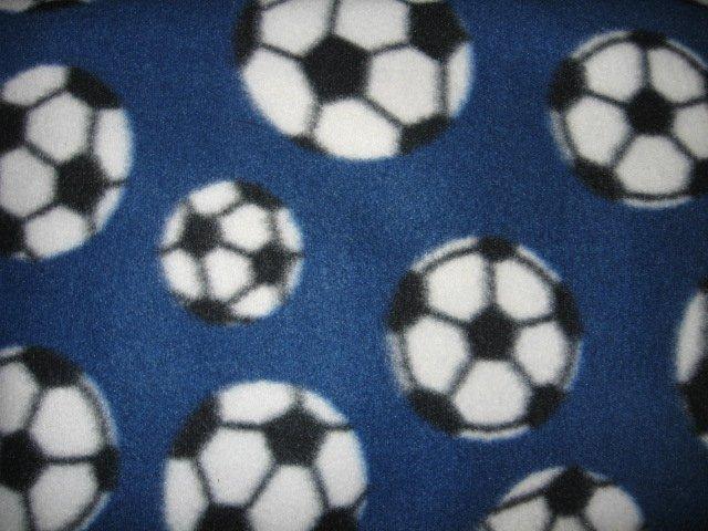 Image 0 of Soccer balls Fleece blanket dark blue  46 in x 60 in Rare
