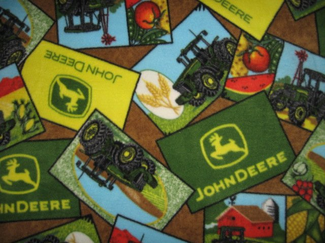 Image 0 of John Deere Tractor Logo Fleece  Bed Blanket Man Cave  Farm Barn