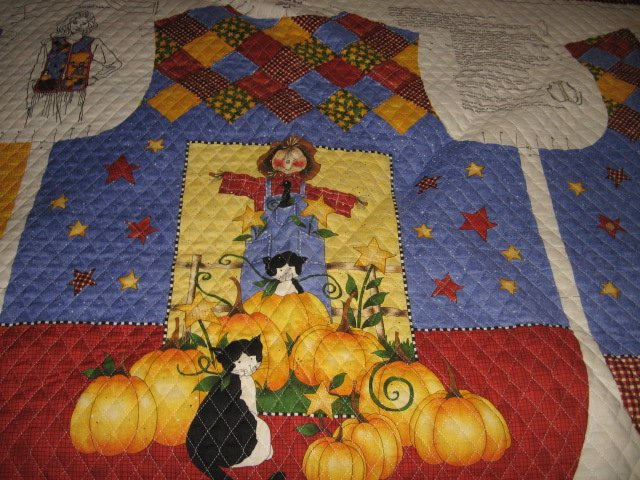 Image 1 of Harvest country vest Teacher gift quilted fabric panel  to sew  size 8-18