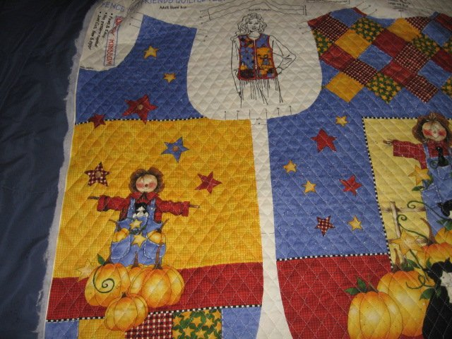 Image 2 of Harvest country vest Teacher gift quilted fabric panel  to sew  size 8-18