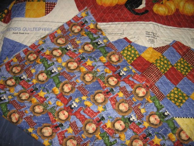 Image 3 of Harvest country vest Teacher gift quilted fabric panel  to sew  size 8-18