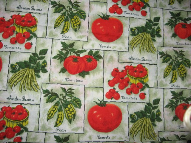 Vegetables tomatoes beans peas Sewing Fabric by the yard