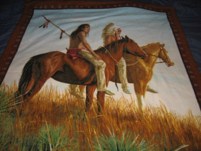 Image 1 of Native American Indian on horseback fleece panel rare
