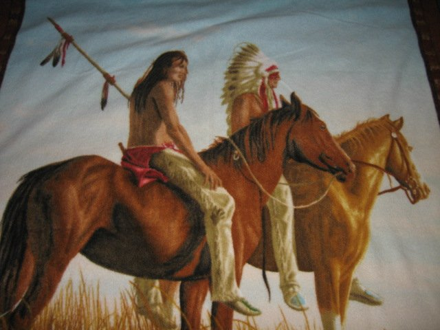 Image 0 of Native American Indian on horseback fleece panel rare