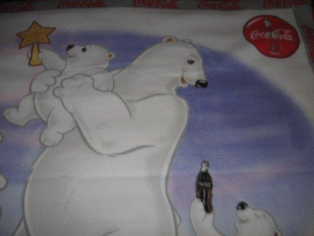 Image 1 of Polar Bear Coca Cola fleece blanket