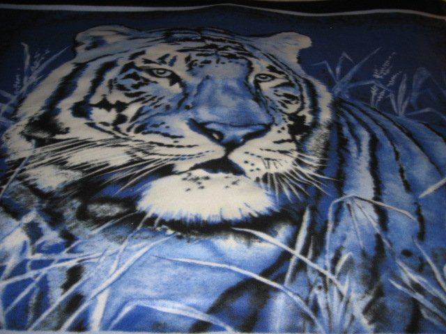 Image 1 of Tiger exquisite blue  bed size Fleece blanket Panel very rare