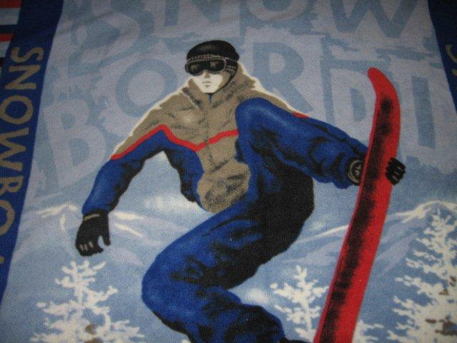 Image 1 of Snowboard Fleece blanket antipill handmade