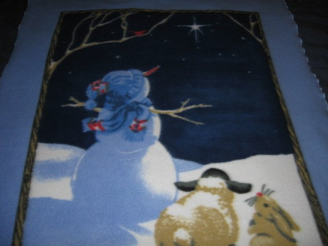 Image 1 of Nativity star snowman animal do you see what I see fleece blanket