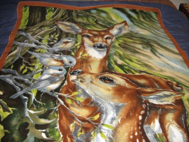 Image 1 of Deer fawn bird tree fleece Blanket  46 inch X 56 inch