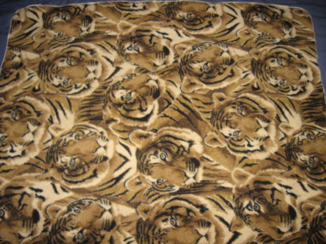 Image 1 of Tiger faces overall Fleece Blanket