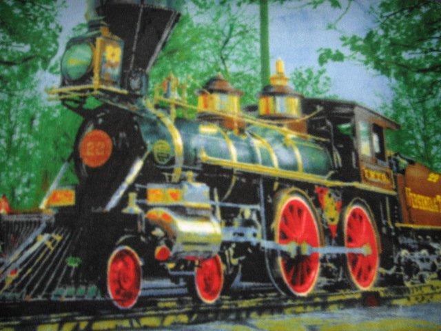 Image 0 of Locomotive vintage style  fleece blanket Rare