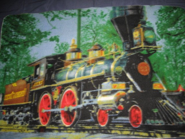 Image 1 of Locomotive vintage style  fleece blanket Rare