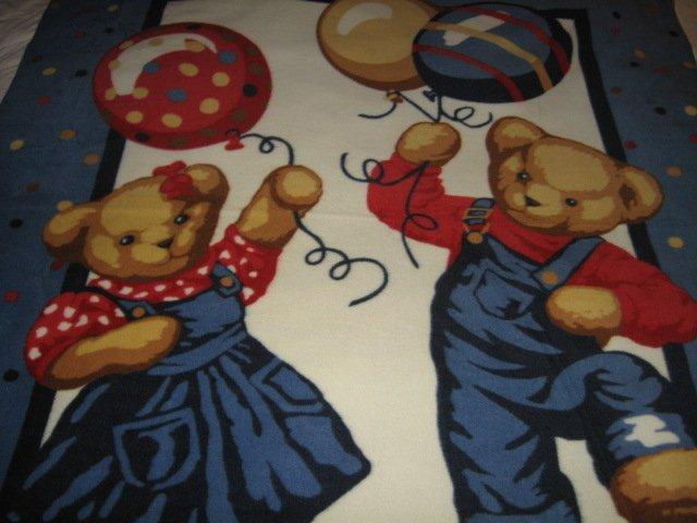 Blue Jean Teddy boy girl balloons fleece blanket