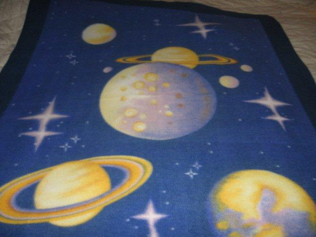 Image 0 of Moon planet star velvety soft bed Fleece Blanket