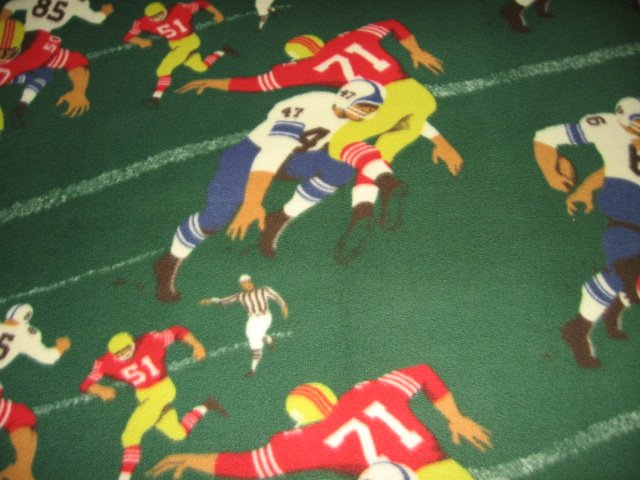 Image 1 of Football player number green fleece blanket rare
