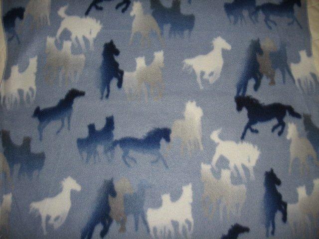 Image 0 of Horse silhouette on light blue fleece