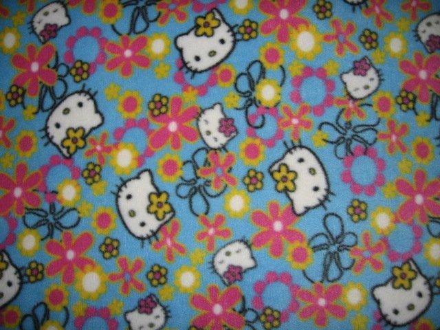 Image 0 of Hello Kitty faces flowers fleece blanket