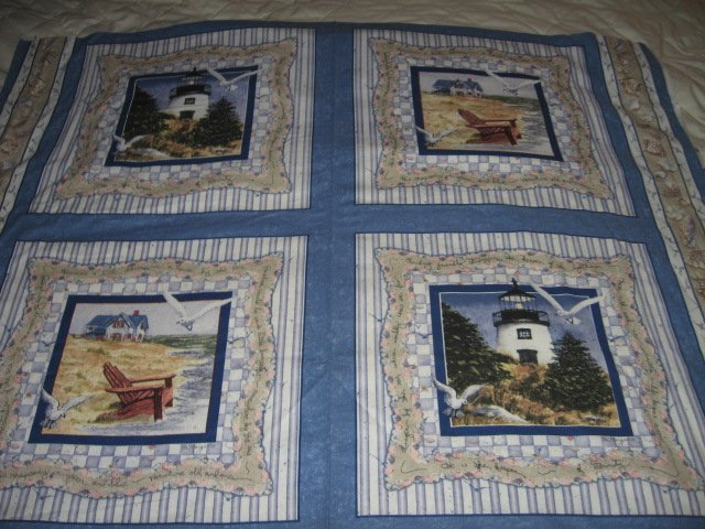 Image 0 of Lighthouse chair seagull shell nautical cotton Fabric Pillow Panel Set of Four