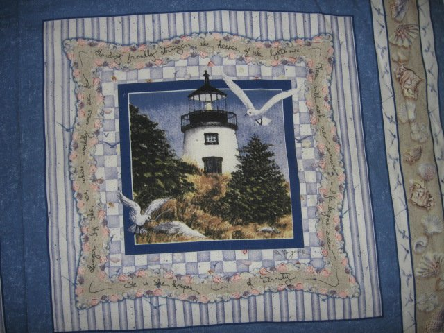 Image 1 of Lighthouse chair seagull shell nautical cotton Fabric Pillow Panel Set of Four