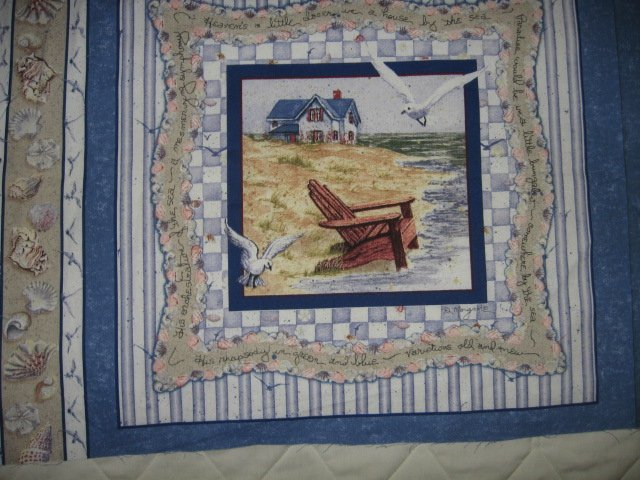 Image 2 of Lighthouse chair seagull shell nautical cotton Fabric Pillow Panel Set of Four