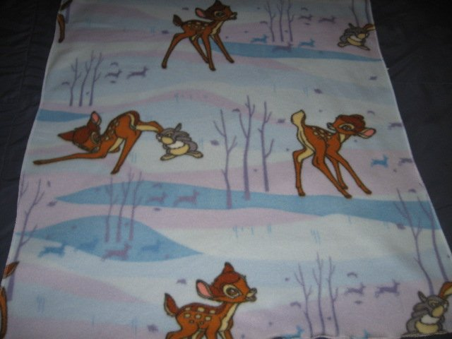 Bambi Thumper faun deer Disney fleece toddler blanket 28 inch by 36 inch