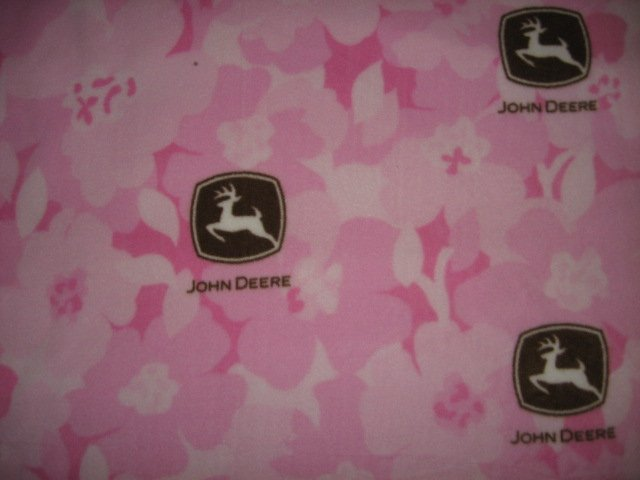 Image 1 of John Deere logo pink toddler fleece blanket 28 inch by 34 inch