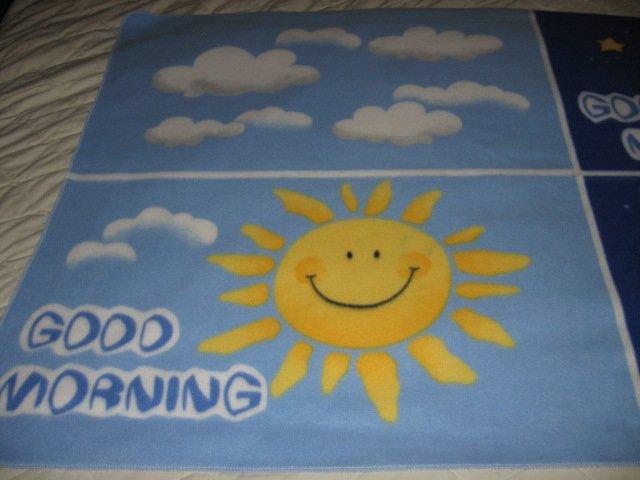 Image 0 of Good Morning Good Night Greeting  fleece blanket  Child  Antipill