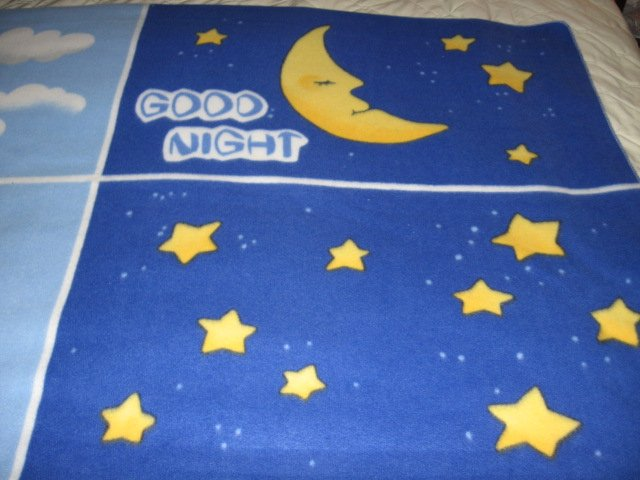 Image 1 of Good Morning Good Night Greeting  fleece blanket  Child  Antipill