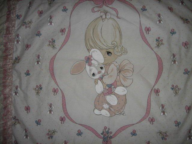 Image 0 of Girl bunny Precious Moments fabric wall panel triple lace binding