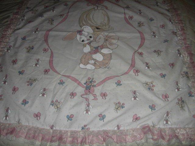 Image 2 of Girl bunny Precious Moments fabric wall panel triple lace binding