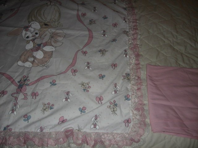 Image 3 of Girl bunny Precious Moments fabric wall panel triple lace binding