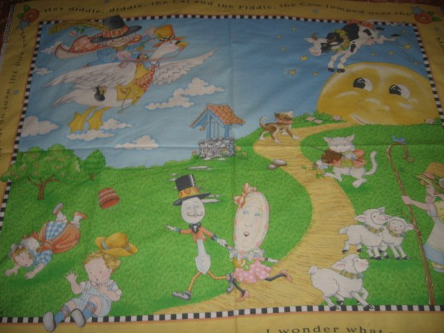 Nursery Rhyme mother goose mary Engelbreit child fabric panel to sew
