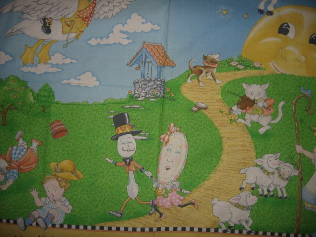 Image 1 of Nursery Rhyme mother goose mary Engelbreit child fabric panel to sew