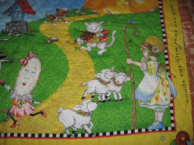 Image 1 of Nursery Rhyme mother goose mary Engelbreit crib quilt