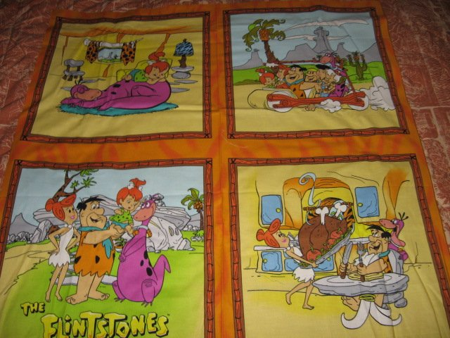 Image 0 of Flintstone family character Fabric Pillow Panel set of four