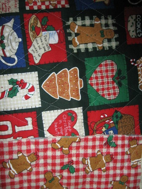 Image 2 of Christmas square and gingerbread man on quilted double fabric