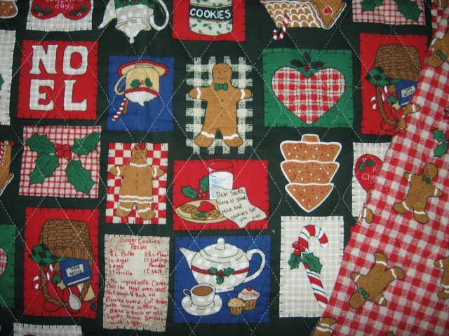 Image 1 of Christmas square and gingerbread man on quilted double fabric