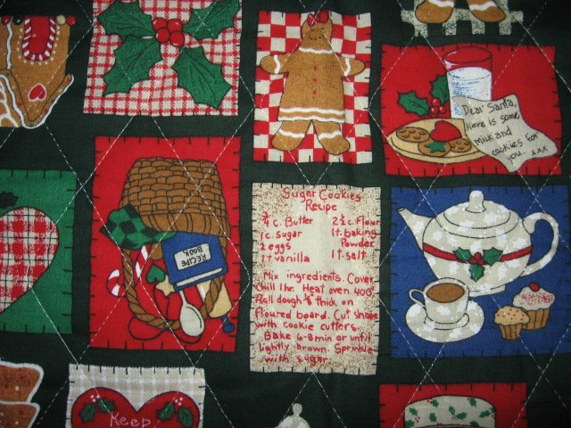 gingerbread man Christmas square on quilted double fabric