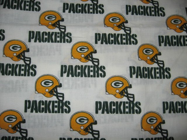 Green Bay Packers green gold helmet words fabric fat quarter  approx 18x21 inch