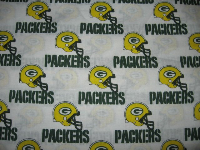 Green Bay Packers colors helmet words fabric fat quarter  approx 18x21 inch