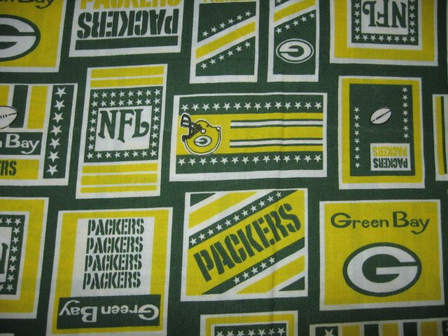 Green Bay Packers ball NFL logo fabric fat quarter  approx 18x21 inch