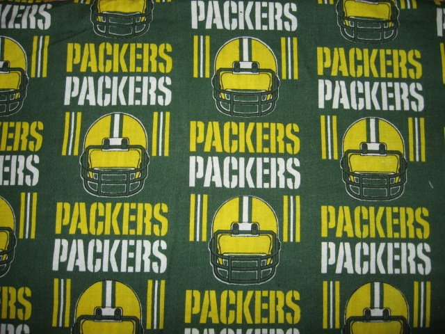 Green Bay Packers rows helmet words fabric fat quarter  approx 18x21 inch