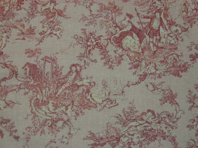 Country 100 cotton pink toile early american or french for French toile fabric