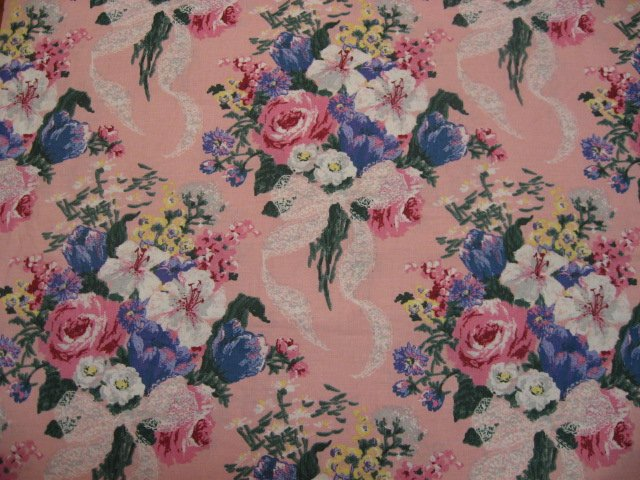 Image 0 of Daisy Kingdom Floral Bouquets Roses and Lace Cotton fabric by the yard 1992