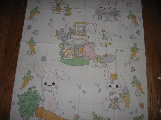 home sweet home books carrot bunny Precious Moments Fabric panel to sew